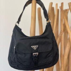 Authentic Prada Black Tessuto Nylon Front Pocket Shoulder Bag Hobo